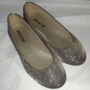 Reflective Sparkly Gold and Silver Flats